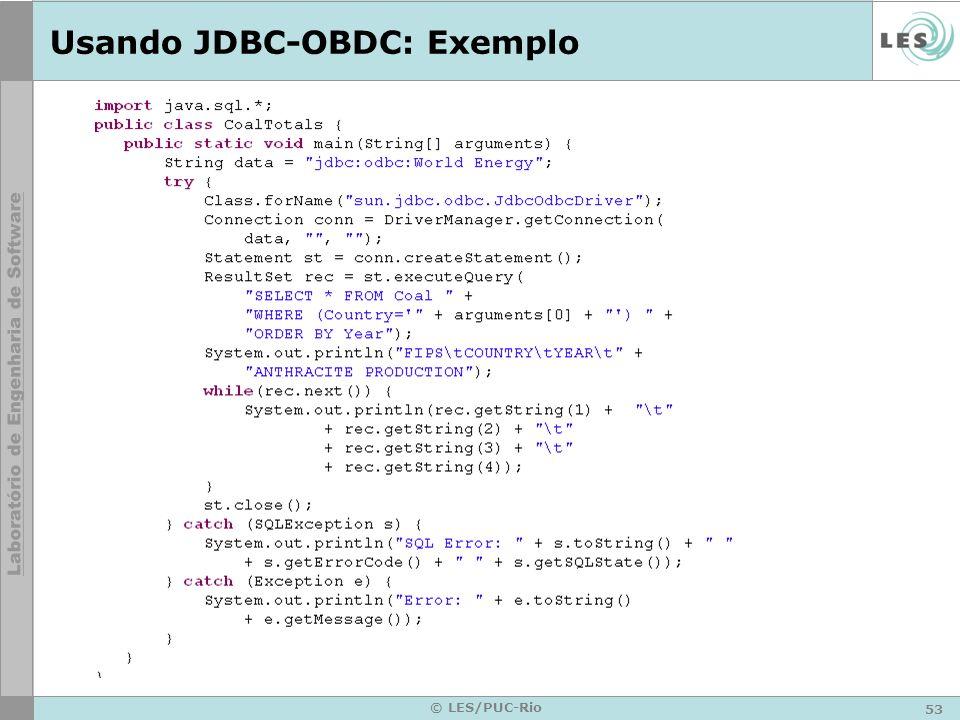 Usando JDBC-OBDC: Exemplo