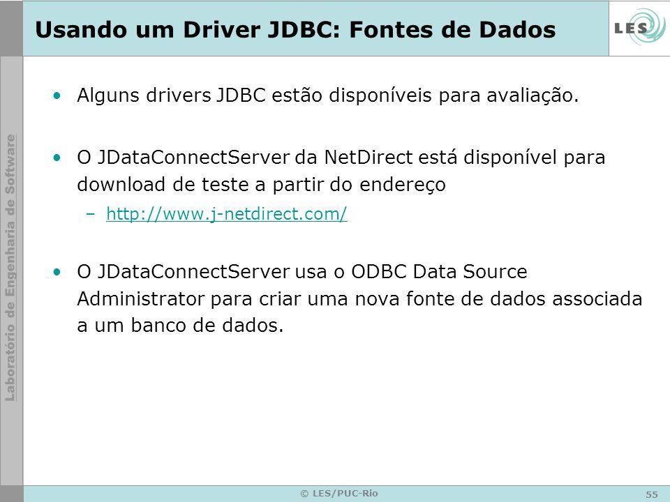 Usando um Driver JDBC: Fontes de Dados