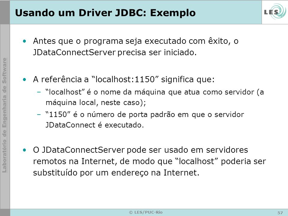 Usando um Driver JDBC: Exemplo