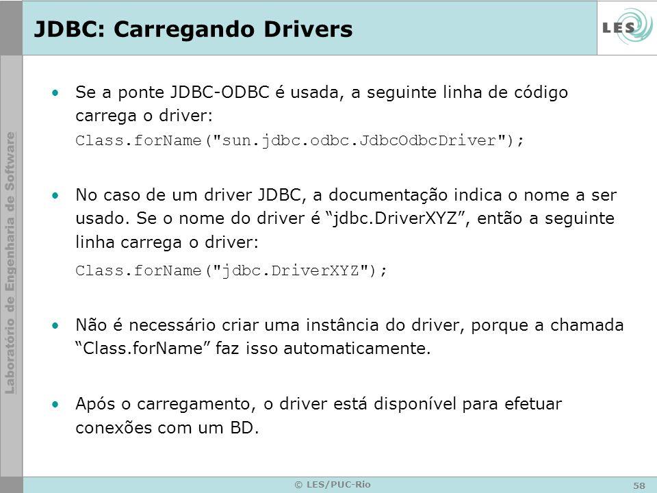 JDBC: Carregando Drivers
