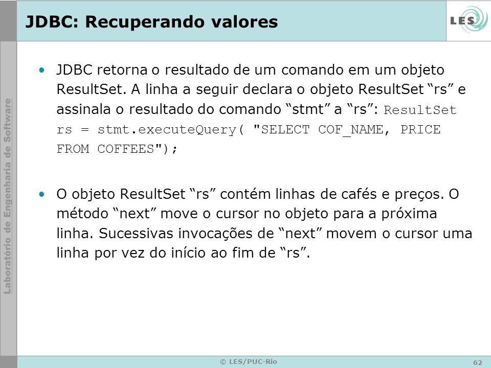 JDBC: Recuperando valores