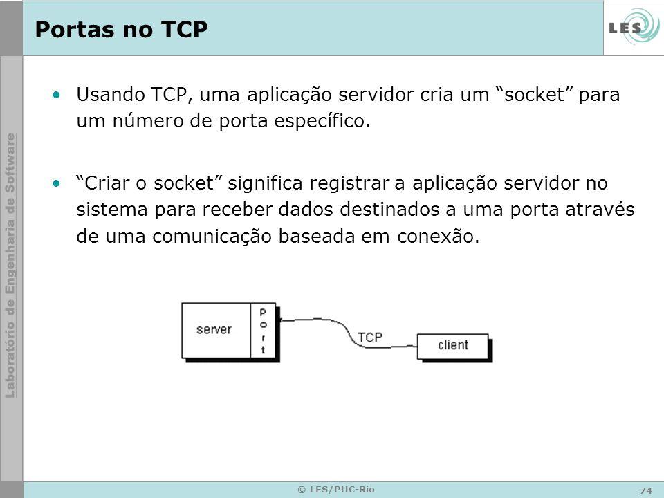 Portas no TCP Usando TCP, uma aplicação servidor cria um socket para um número de porta específico.