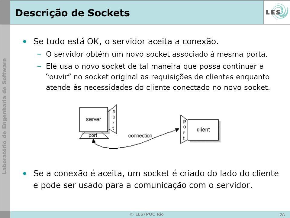 Descrição de Sockets Se tudo está OK, o servidor aceita a conexão.