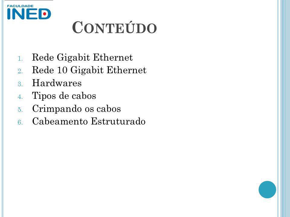 Conteúdo Rede Gigabit Ethernet Rede 10 Gigabit Ethernet Hardwares
