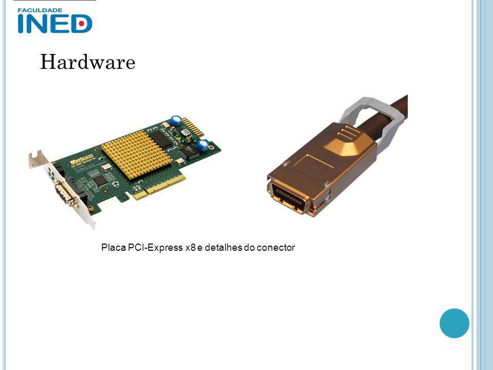 Hardware Placa PCI-Express x8 e detalhes do conector