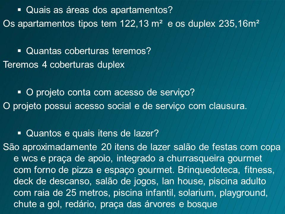 Quais as áreas dos apartamentos
