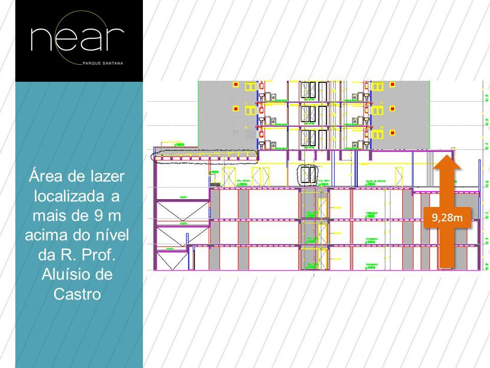9,28m Área de lazer localizada a mais de 9 m acima do nível da R. Prof. Aluísio de Castro.