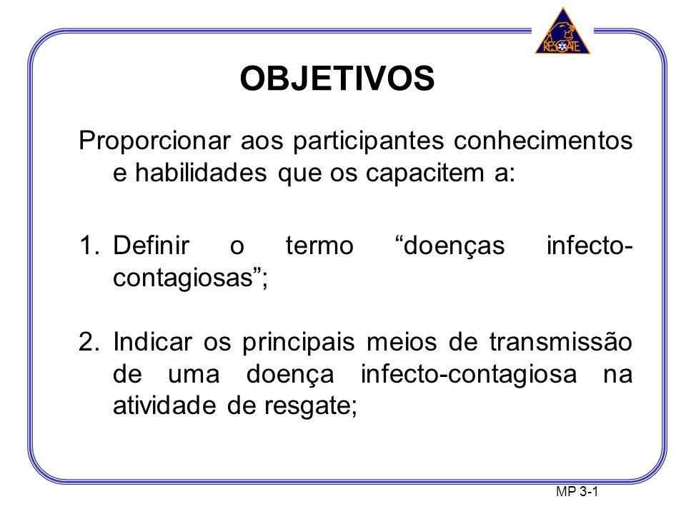 OBJETIVOS Proporcionar aos participantes conhecimentos e habilidades que os capacitem a: Definir o termo doenças infecto-contagiosas ;