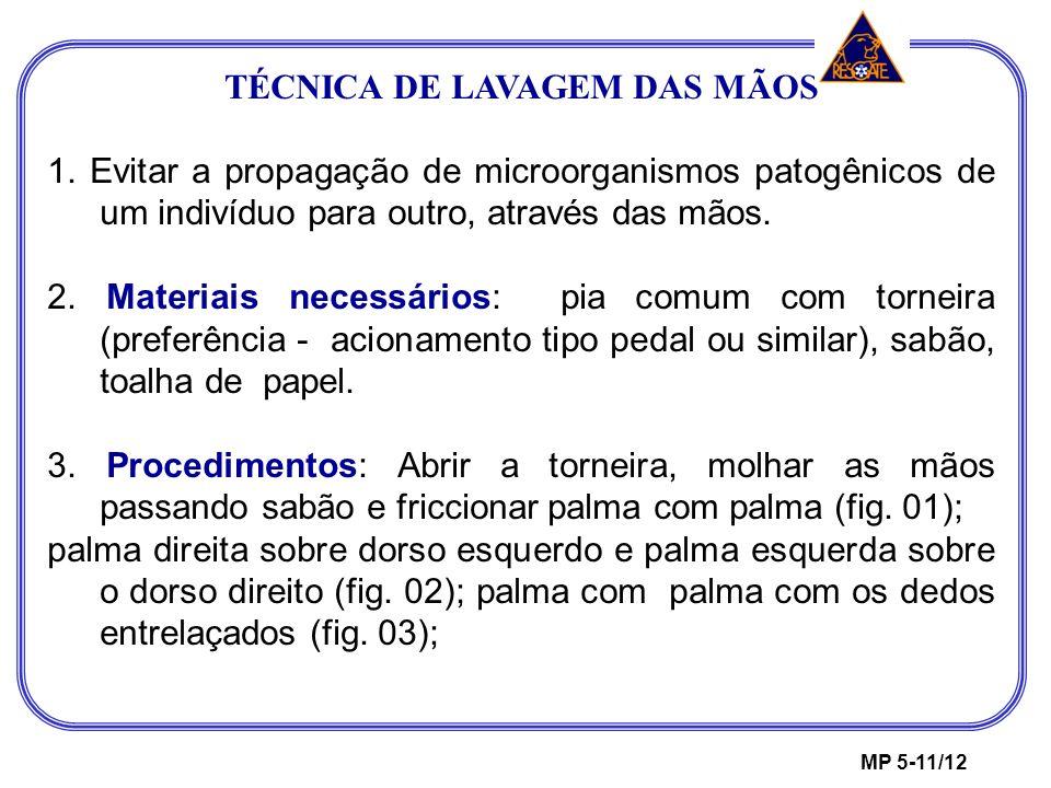 TÉCNICA DE LAVAGEM DAS MÃOS