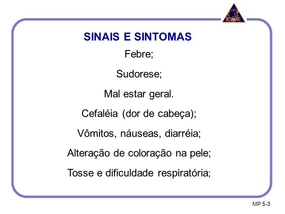 SINAIS E SINTOMAS Febre; Sudorese; Mal estar geral.