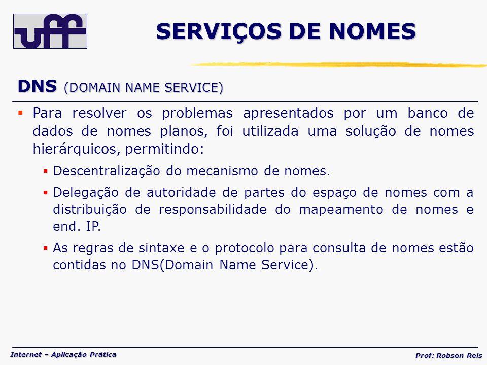 SERVIÇOS DE NOMES DNS (DOMAIN NAME SERVICE)