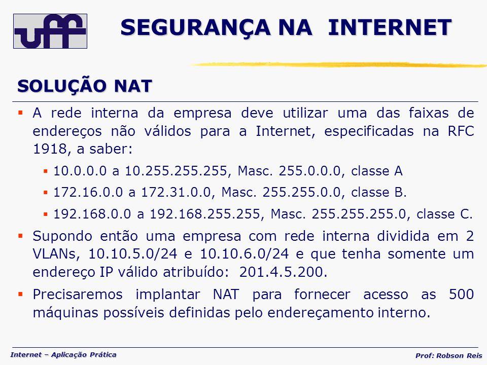 SEGURANÇA NA INTERNET SOLUÇÃO NAT