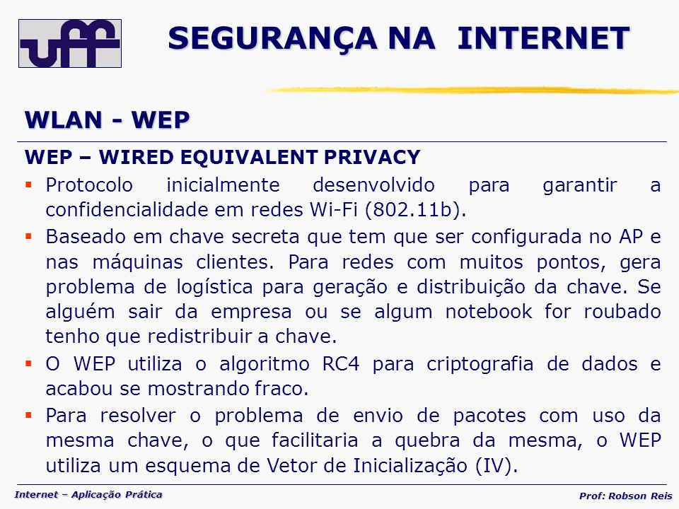 SEGURANÇA NA INTERNET WLAN - WEP WEP – WIRED EQUIVALENT PRIVACY
