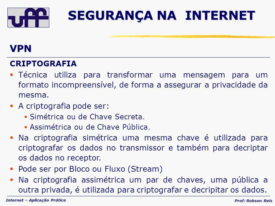SEGURANÇA NA INTERNET VPN CRIPTOGRAFIA
