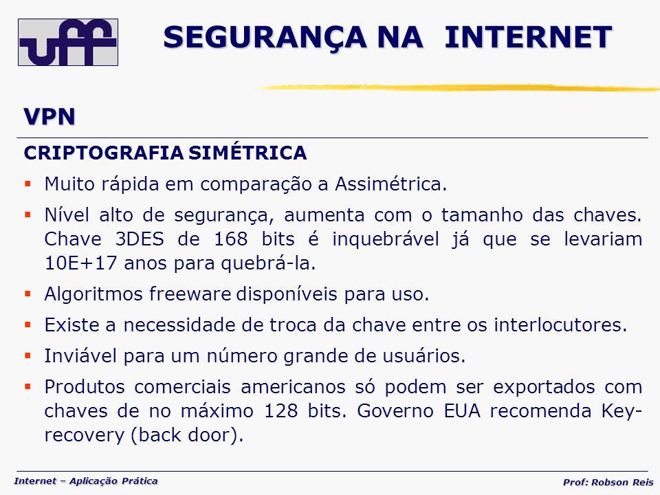 SEGURANÇA NA INTERNET VPN CRIPTOGRAFIA SIMÉTRICA