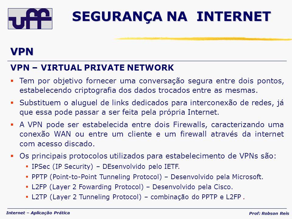 SEGURANÇA NA INTERNET VPN VPN – VIRTUAL PRIVATE NETWORK