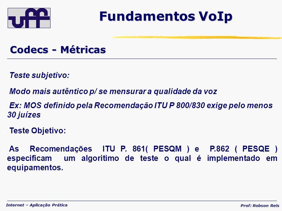 Fundamentos VoIp Codecs - Métricas Teste subjetivo: