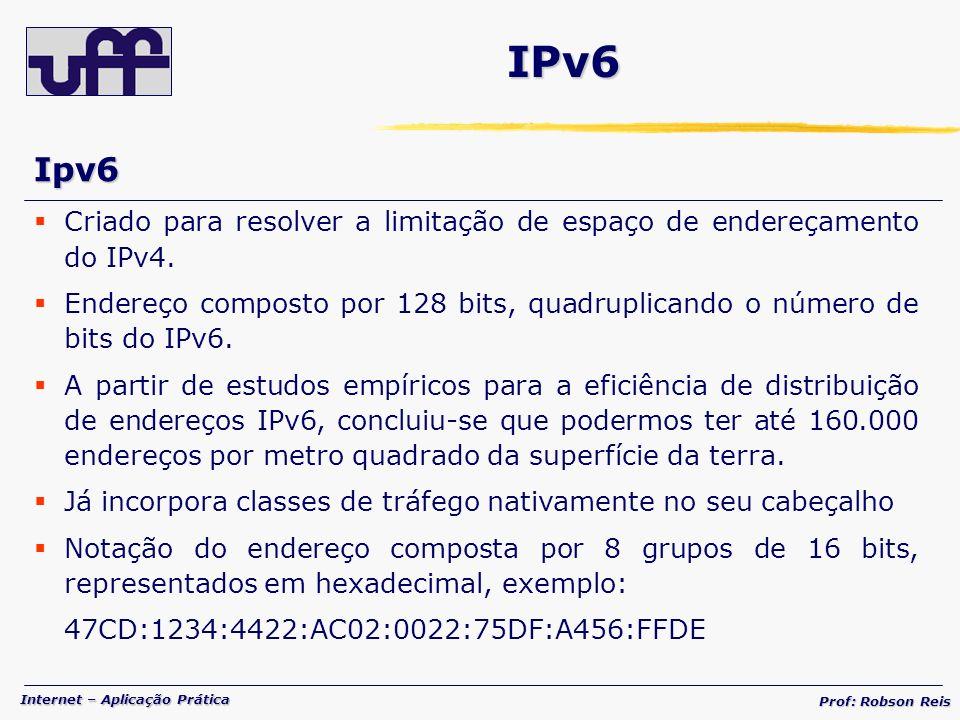 IPv6 Ipv6. Criado para resolver a limitação de espaço de endereçamento do IPv4.