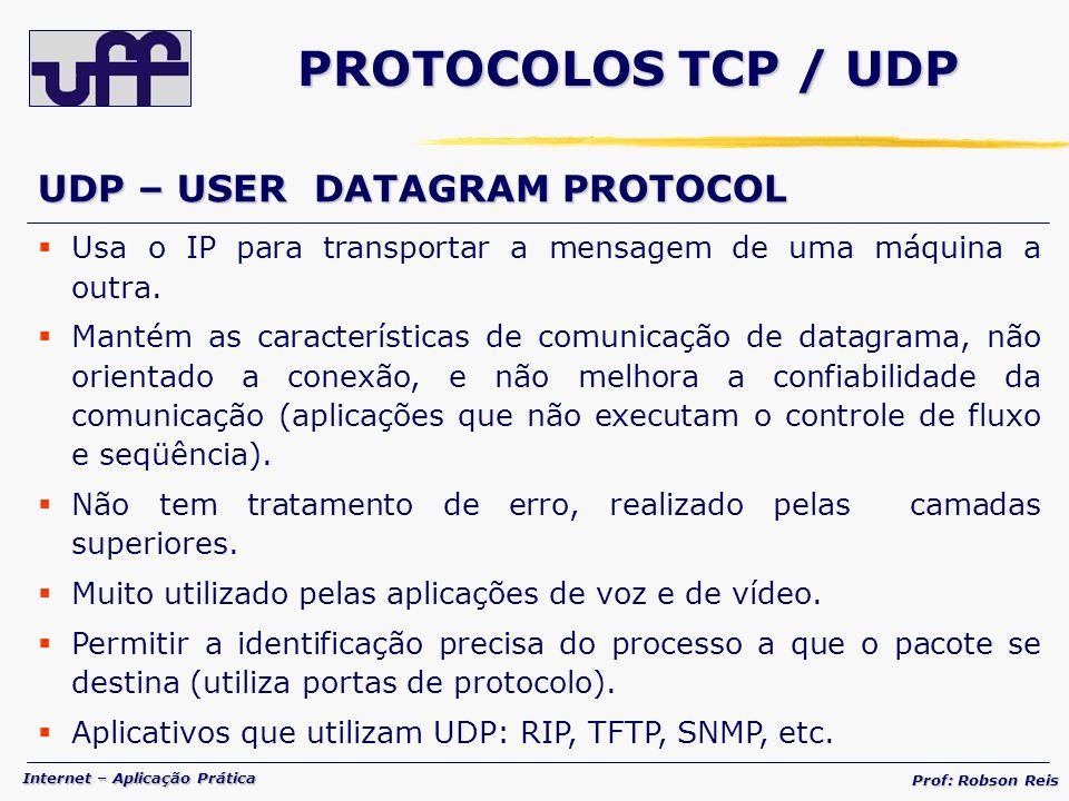 PROTOCOLOS TCP / UDP UDP – USER DATAGRAM PROTOCOL