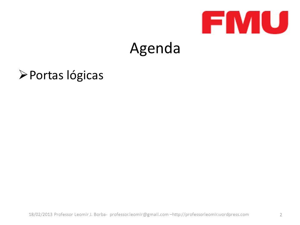 Agenda Portas lógicas. 18/02/2013 Professor Leomir J. Borba- professor.leomir@gmail.com –http://professorleomir.wordpress.com.
