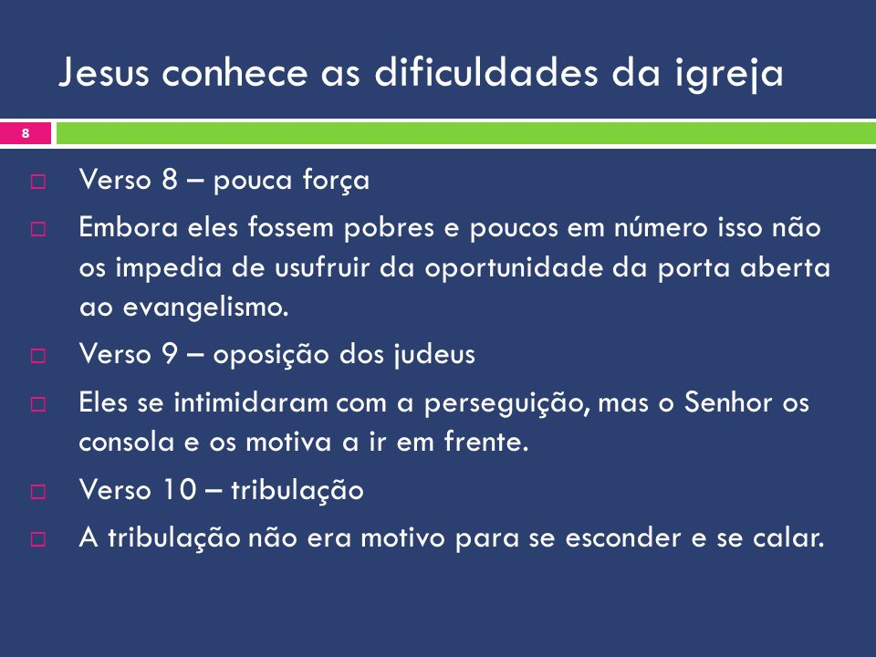 Jesus conhece as dificuldades da igreja