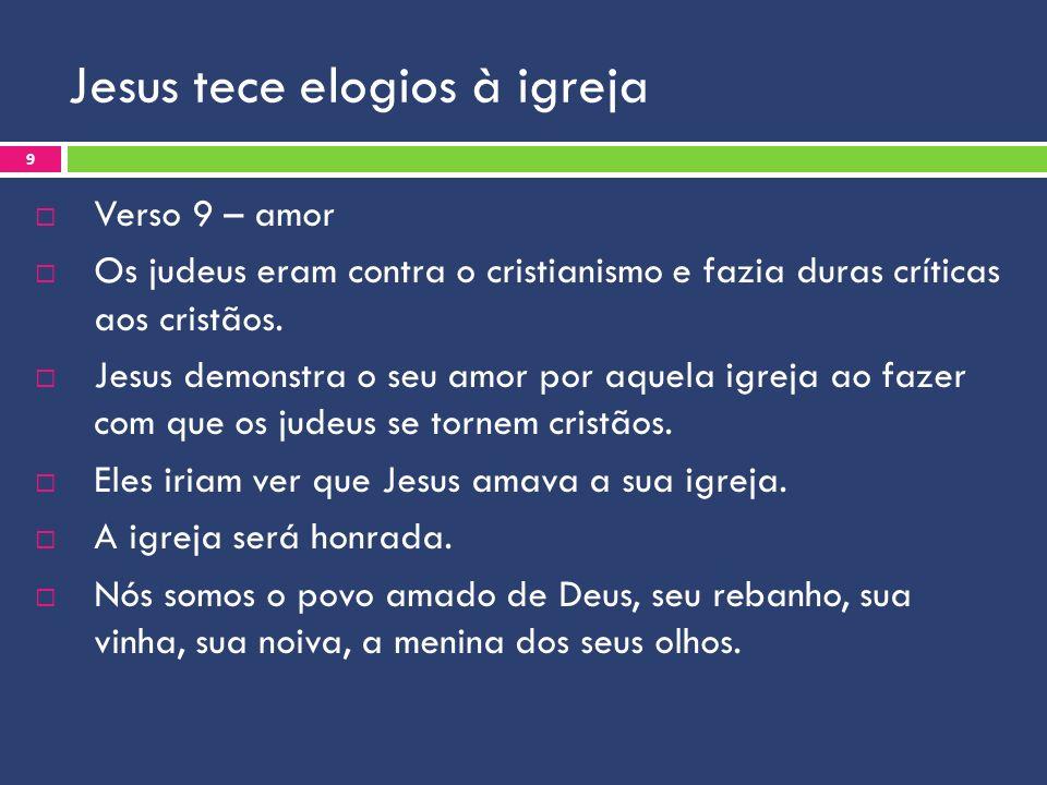 Jesus tece elogios à igreja