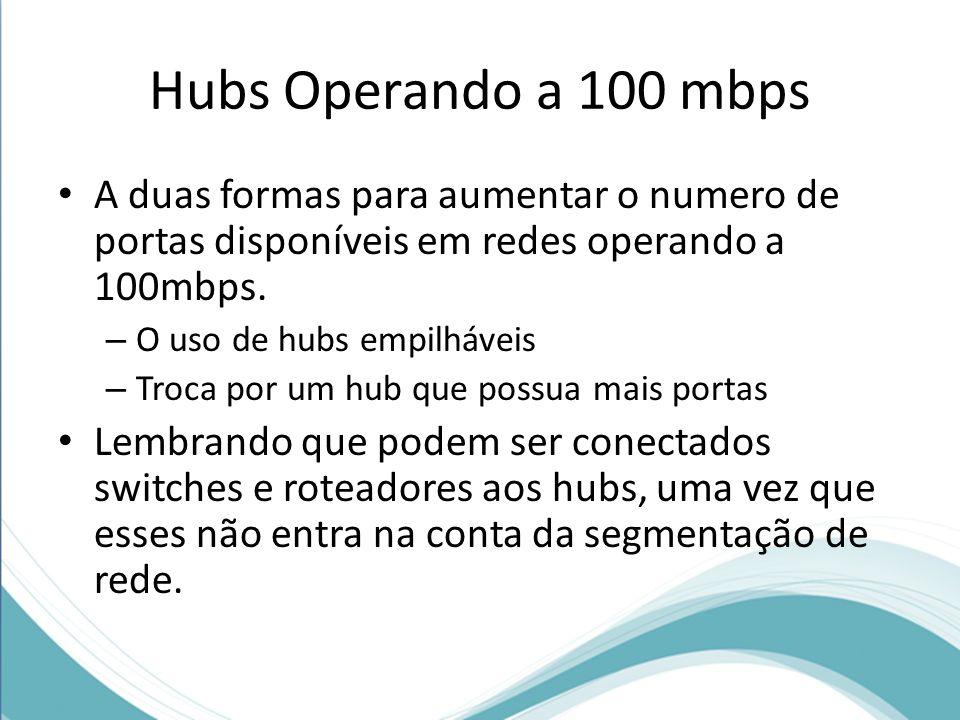 Hubs Operando a 100 mbps A duas formas para aumentar o numero de portas disponíveis em redes operando a 100mbps.