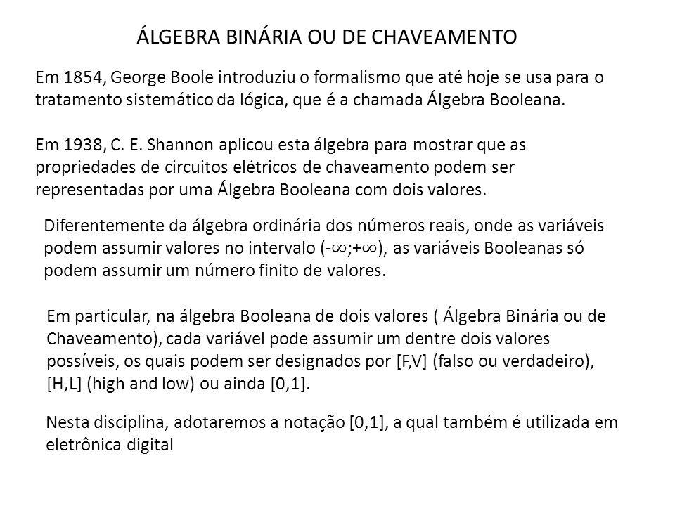 ÁLGEBRA BINÁRIA OU DE CHAVEAMENTO