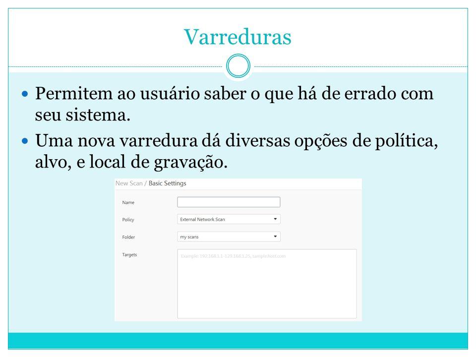 Varreduras Permitem ao usuário saber o que há de errado com seu sistema.