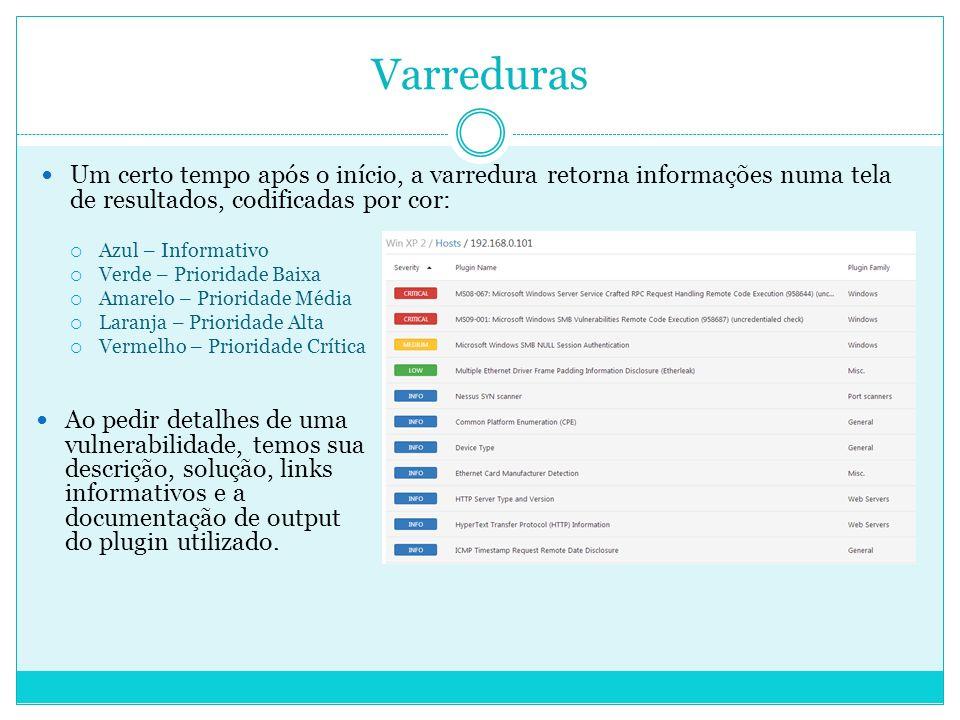 Varreduras Um certo tempo após o início, a varredura retorna informações numa tela de resultados, codificadas por cor: