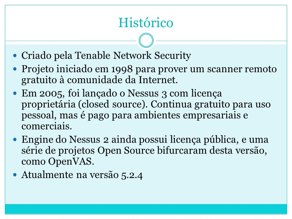 Histórico Criado pela Tenable Network Security