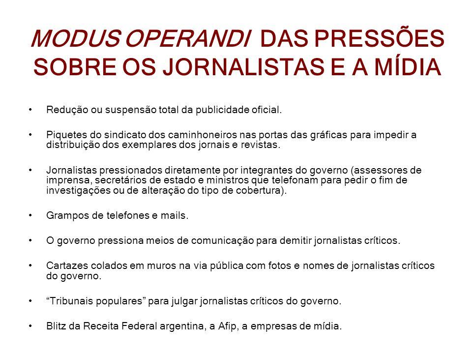 MODUS OPERANDI DAS PRESSÕES SOBRE OS JORNALISTAS E A MÍDIA