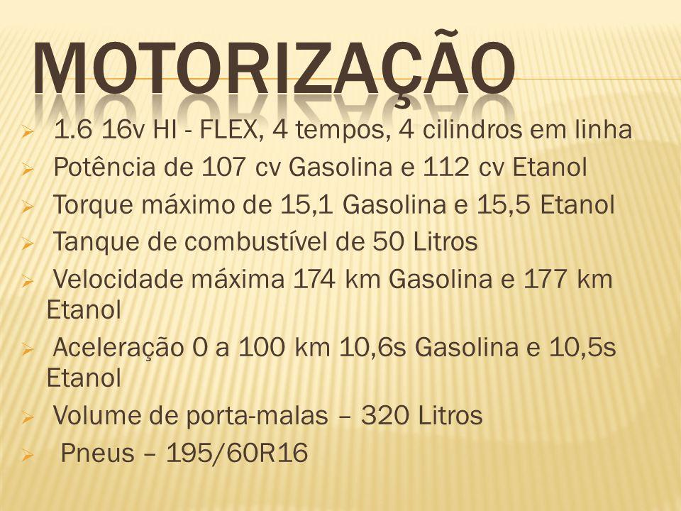 MOTORIZAÇÃO 1.6 16v HI - FLEX, 4 tempos, 4 cilindros em linha