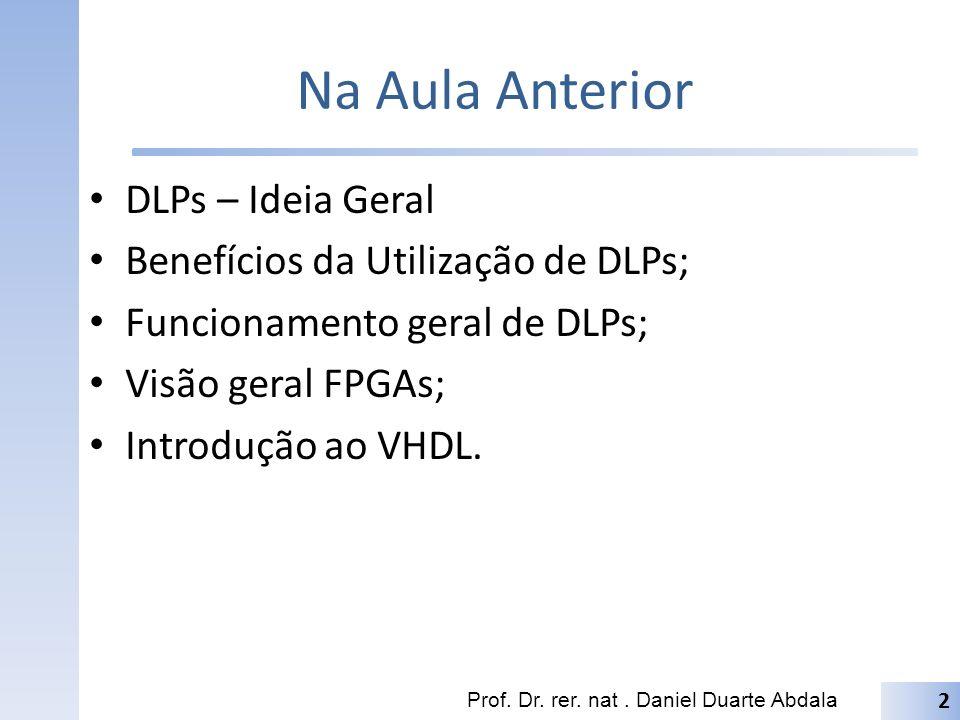 Na Aula Anterior DLPs – Ideia Geral Benefícios da Utilização de DLPs;