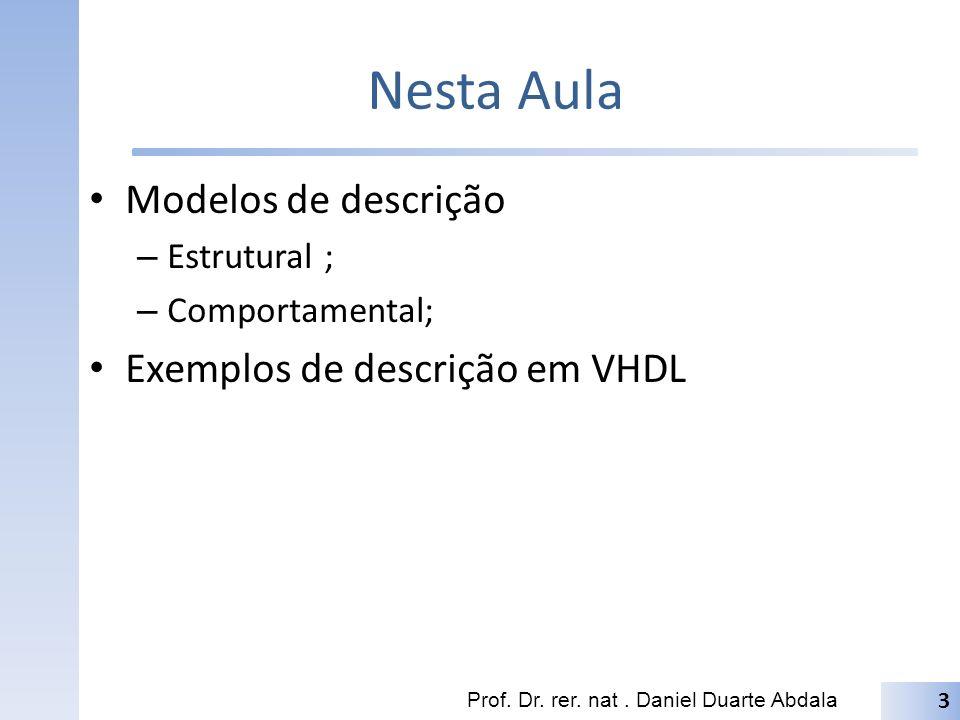 Nesta Aula Modelos de descrição Exemplos de descrição em VHDL