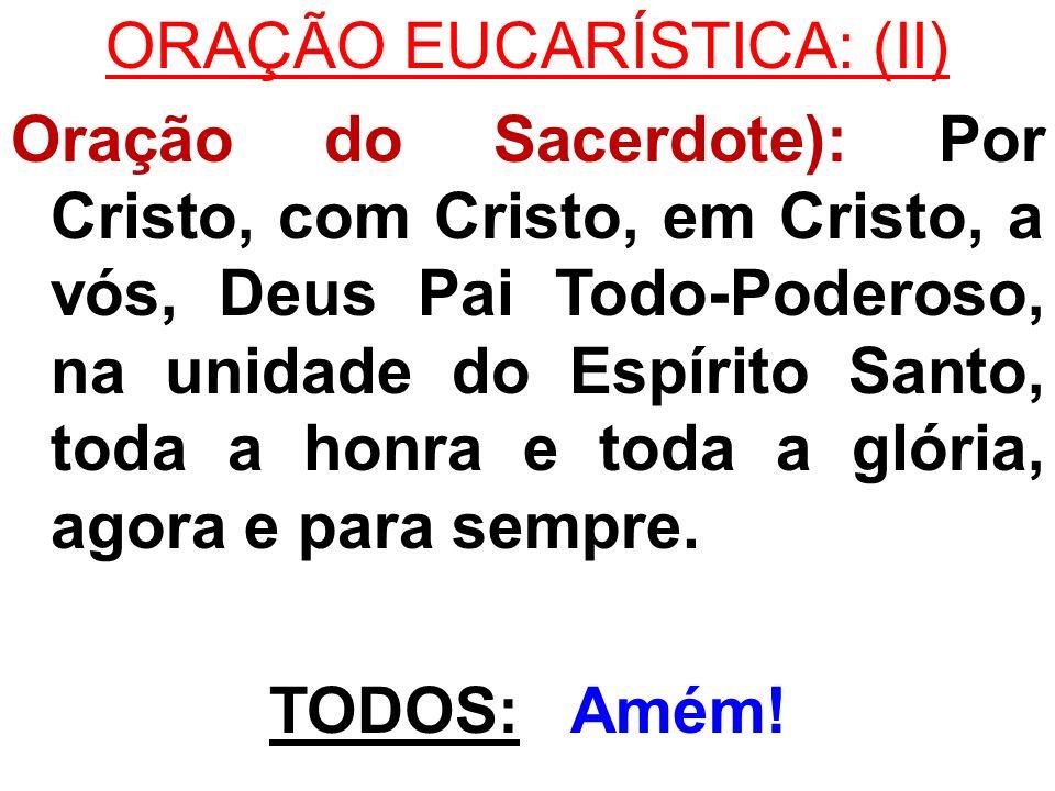 ORAÇÃO EUCARÍSTICA: (II) Oração do Sacerdote): Por Cristo, com Cristo, em Cristo, a vós, Deus Pai Todo-Poderoso, na unidade do Espírito Santo, toda a honra e toda a glória, agora e para sempre.