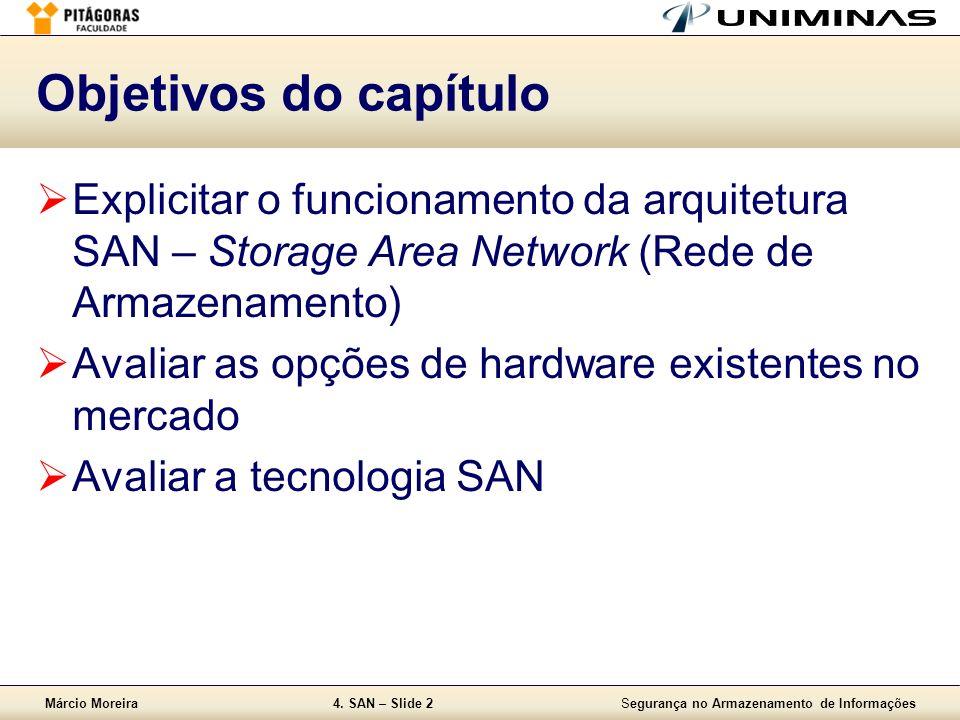 Objetivos do capítulo Explicitar o funcionamento da arquitetura SAN – Storage Area Network (Rede de Armazenamento)