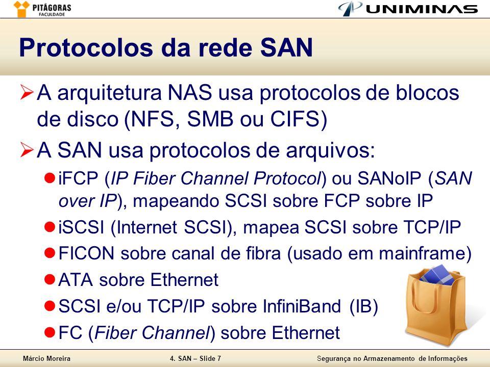 Protocolos da rede SAN A arquitetura NAS usa protocolos de blocos de disco (NFS, SMB ou CIFS) A SAN usa protocolos de arquivos: