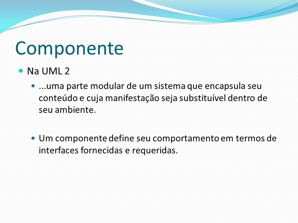 Componente Na UML 2. ...uma parte modular de um sistema que encapsula seu conteúdo e cuja manifestação seja substituível dentro de seu ambiente.