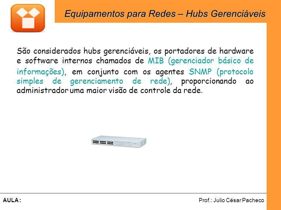 Equipamentos para Redes – Hubs Gerenciáveis