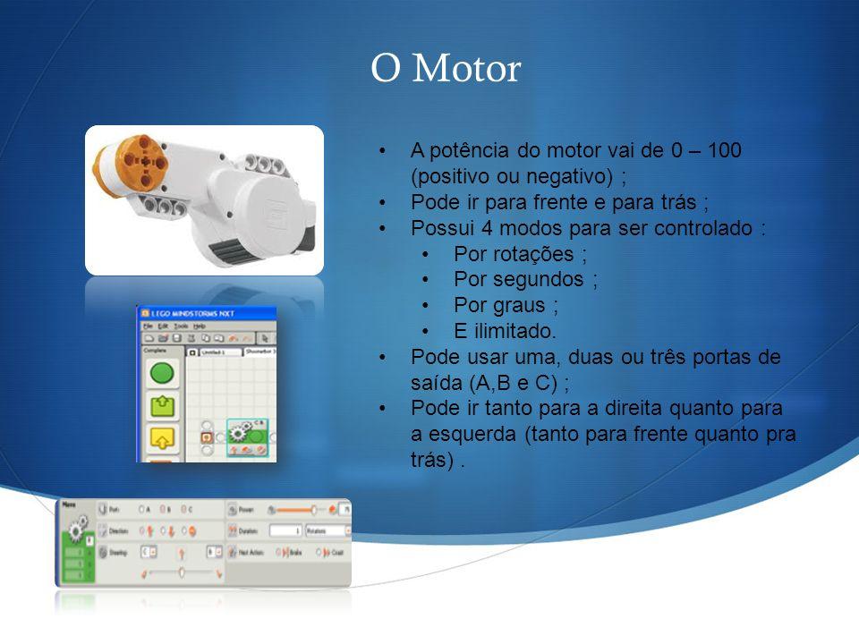 O Motor A potência do motor vai de 0 – 100 (positivo ou negativo) ;