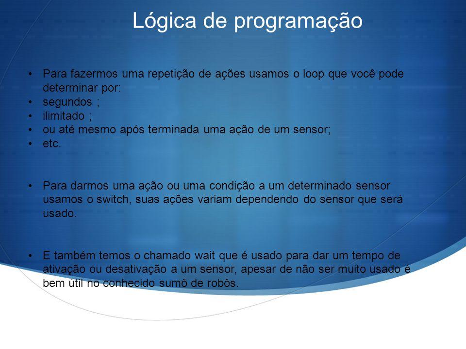 Lógica de programação Para fazermos uma repetição de ações usamos o loop que você pode determinar por: