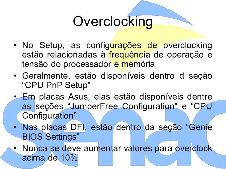 Overclocking No Setup, as configurações de overclocking estão relacionadas à frequência de operação e tensão do processador e memória.