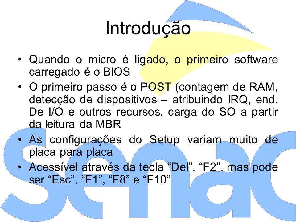 Introdução Quando o micro é ligado, o primeiro software carregado é o BIOS.