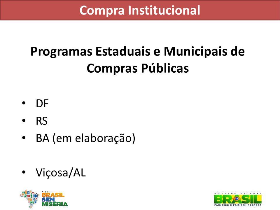Programas Estaduais e Municipais de Compras Públicas