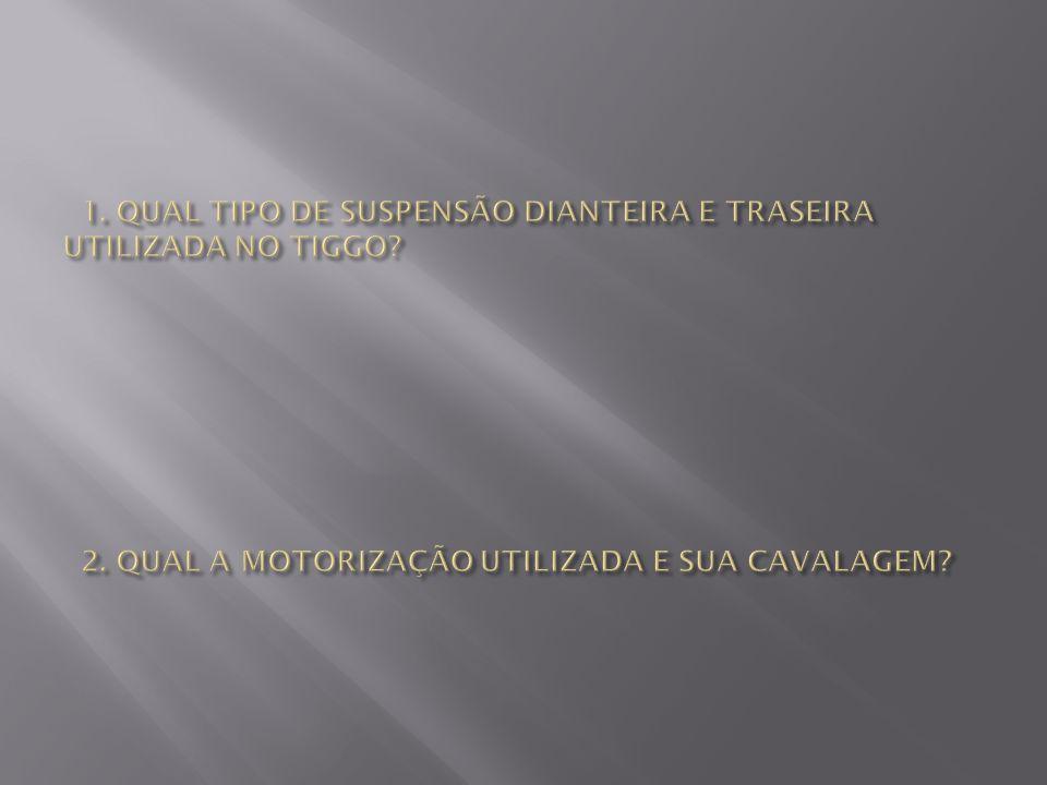 1. QUAL TIPO DE SUSPENSÃO DIANTEIRA E TRASEIRA UTILIZADA NO TIGGO. 2