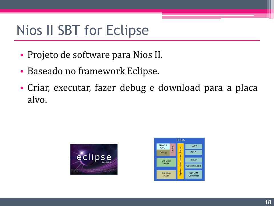 Nios II SBT for Eclipse Projeto de software para Nios II.
