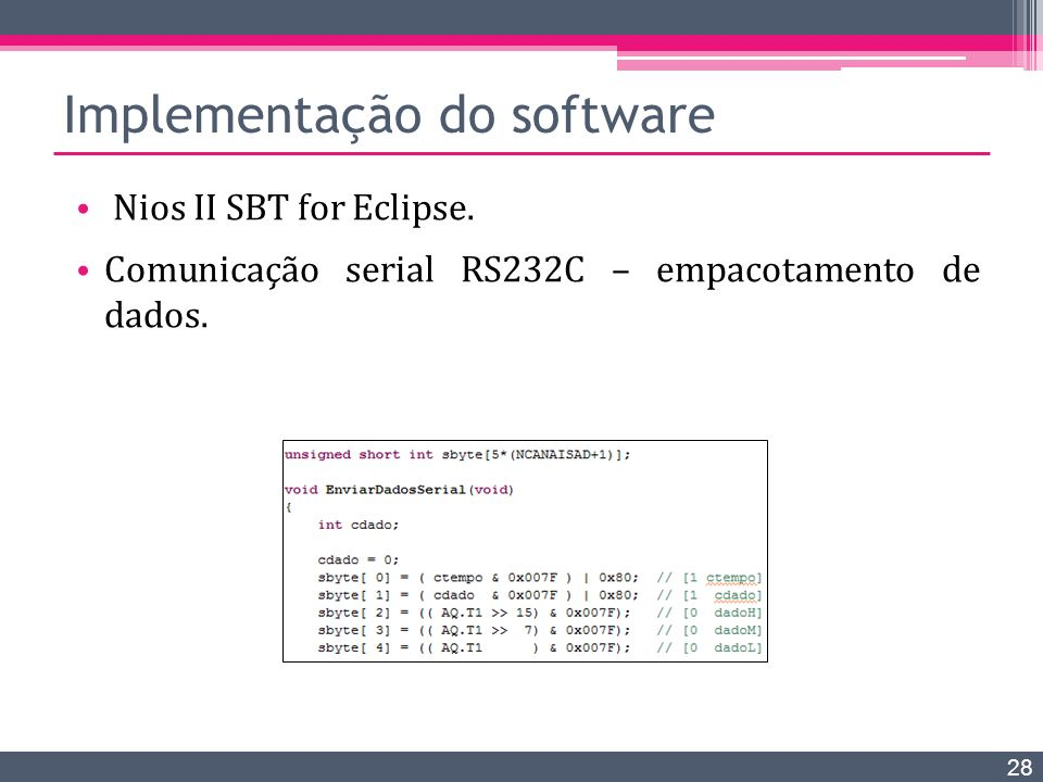 Implementação do software