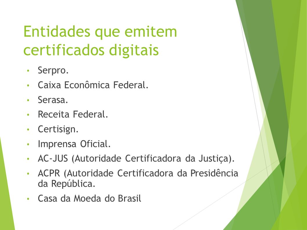 Entidades que emitem certificados digitais