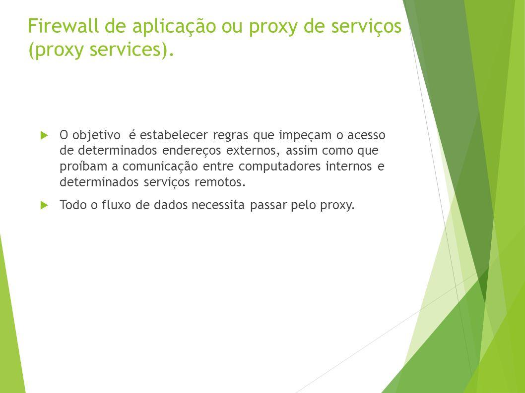 Firewall de aplicação ou proxy de serviços (proxy services).